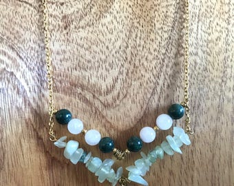 """35"""" Gold Chain with Natural Stone Pendant"""