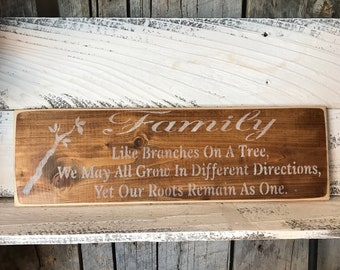 Family Like Branches On A Tree We May All Grow In Different Directions Yet Our Roots Remain As One - Painted Wood Sign - Rustic Wall Decor