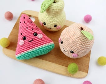 Crochet Fruit/ Kawaii Fruit/ Amigurumi Fruit/Crochet Pear/Crochet Watermelon/ Crochet Peach/ Play Food/ Pretend Play/ Playroom Decor