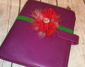 Classy Red & Green with Rhinestones and Feathers  Planner Band/Headband  for Erin Condren, Happy Planner, Filofax, KikkiK, Inkwells
