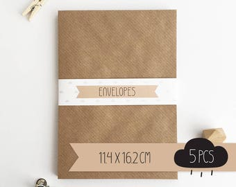Envelope C6 / kraft brown / 11,4 x 16,2 cm / 5 pieces