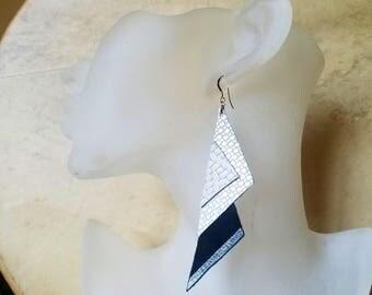 Leather Earrings Geometric Jewelry Triangle Silver Black Grey Pattern 14k Gold Hooks