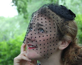 Black Fascinator loop and black polka dot tulle veil