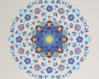 Turquoise Circle-original artwork, tezhip-illumination, 22 carat gold, acrylic, gouache and watercolour painting on hand treated paperboard