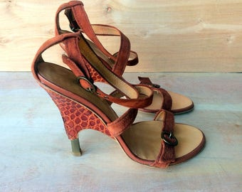 vintage  shoes, Giuseppe rusk color suede and gator high heel sandals, made in ITALY sz EU 37 US 6