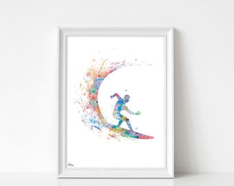 Post surf, sports print art, A4, A3, Sport nautical art, sea poster, original, watercolor surf