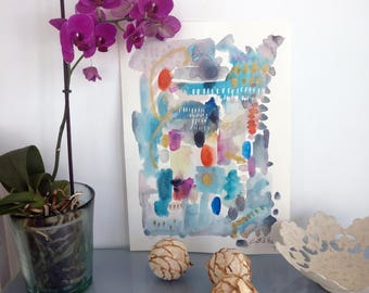 Abstract on paper turquoise and orange. Original painting