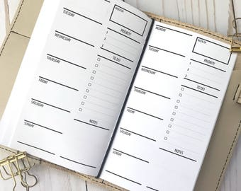 Traveler's Notebook | Week On One Page | Two Weeks On Two Pages With Lists Planner Inserts | Personal TN Planner Inserts | WO1P | 2WO2P