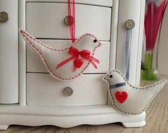 Felt bird ornaments-Bird ornaments-Christmas ornament-Felt ornaments-Felt bird-Handmade ornament-Hanging ornament-White birds-Romantic gift