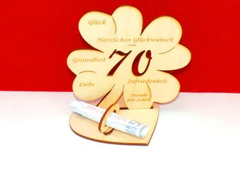 Cloverleaf for 70 or 75 birthdays or wedding day with congratulations and bank note holder