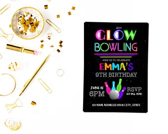 Glow bowling party invitation,Glow Birthday Invitation, Glow Party Invitation, Glow Invitation, Neon Birthday Invitation, Dance Invitation