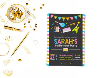 Music Birthday Invitation,Musical Instruments Party, Dance Party Invitation, music party,music invitation,music,
