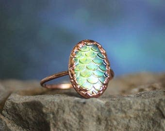 Mermaid Scale Ring Rose Gold Toned, Size 0-13 Available Made to Order, Dragon Scale Ring, Fish Scale Jewelry, Mermaid Jewelry Gift for Her