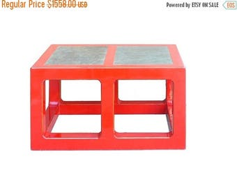 Sales Red Lacquer Stone Top Contemporary Coffee Table , Low Table s049E
