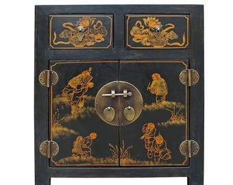 20% Sales Black Lacquer Golden Kid Graphic End Table Nightstand cs2562E