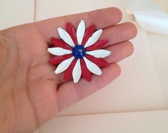 1960s Enamel Flower Brooch - 60s Flower Brooch - Red White and Blue - July 4th - Retro Brooch - Mod Brooch - Mod Jewelry - 1960s MOD - 60s