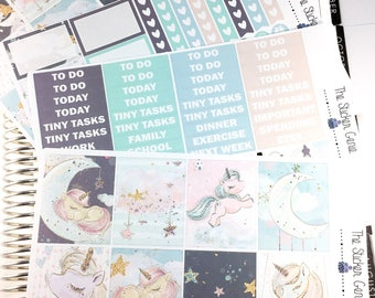 sleeping unicorn Weekly Kit | Planner Stickers, Weekly Kit, Vertical Planner Kit, Full Weekly Kit, unicorn weekly kit, night sky weekly kit