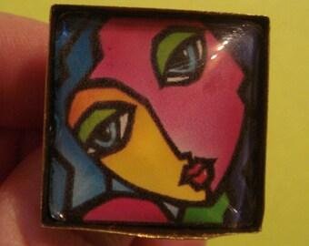 Cubism feminine ring