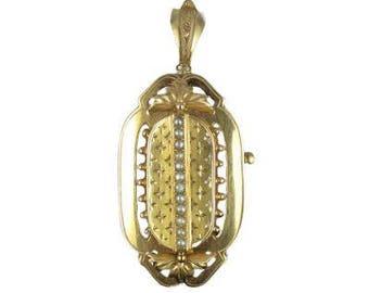 Pendant - Brooch pearls 18K Yellow Gold