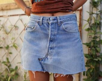Summer Skirt, Mini Skirt, High Waisted Skirt, Festival Skirt, Skirt with Pockets, Jean Skirt, Blue Denim Skirt, Levis Skirt, Levi Skirt