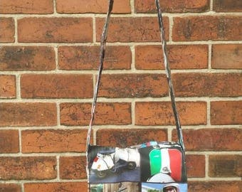 Italian moped print fabric messenger bag