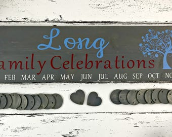 Family Birthday Sign - Family Celebrations Sign - Family Sign - Family Birthday Calendar - Birthday Board - Mother's Day Gift