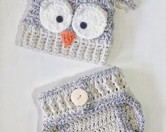 Owl Newborn Beanie and Diaper Cover Set
