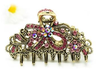 Pink Austrian Crystal Hair Claw Clip Clamp Wedding Ribbon Bow Metal