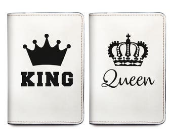 King & Queen - Couple Passport Holder Set of Two - Personalized Passport Cover - Wedding Gifts for Couple - Gifts For Her