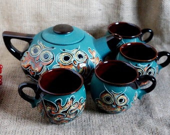 Blue tea set Owls Teapot set with four  mugs