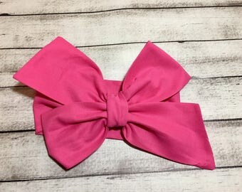 Pink, Hot Pink Headwrap, Baby Headband,Toddler Bows Headwrap,Big Bow Headwrap, Fuscia Headband,Headwrap, Infant Headwrap, Baby Girl, Tie