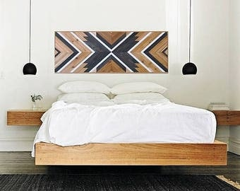Reclaimed Wood Wall Art, Queen Headboard, Boho Wood Art, Geometric Headboard, Rustic Wood, Tribal Wall, Chevron Art,  Southwest Decor