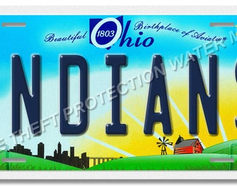 """Cleveland Ohio INDIANS MLB Baseball Team Novelty Vanity License Plate Tag Gift Dad 6""""x12"""" New"""