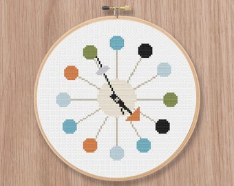 Retro Clock Cross Stitch Pattern