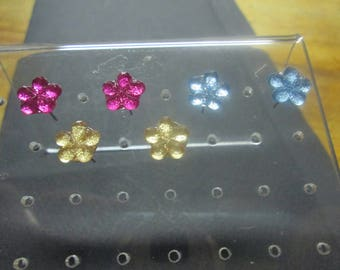 set of 3 pretty pair of small flower studs earrings