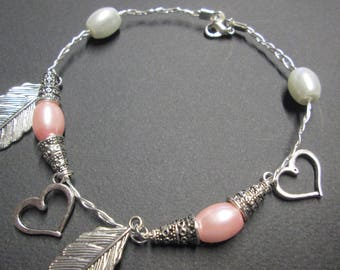 Braid bracelet aluminum wire and beads and charms