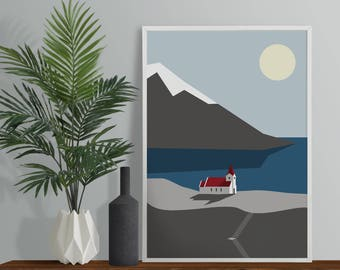 Mountain Church Art Print - A4 A3 Size Print - Winter Mountains - Christmas Poster - Alps Print - Scandinavian Decor - Scandi Style