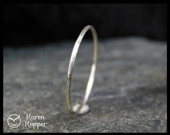 Super skinny ring, 14k Solid White Gold ring, 0.8mm or 1mm, made at your size. Skinny, stacking ring. Wedding band, engagement ring.