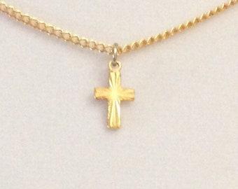 Vintage gold cross, ladies choker necklace, child's cross, Gold Karatclad cross, diamond cut cross with vintage clasp.