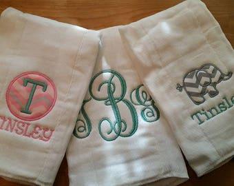 Set of 3 Customized Burp Cloths