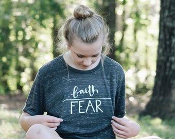 Faith over fear distressed tee