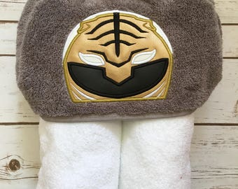 White Ranger Hooded Towel - Perfect for Pool, Beach or Bath Time - Great Birthday Gift