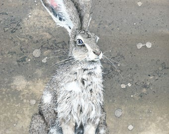 """Watercolor Print, """"The So and so Hares #4,"""" 8x10"""" matted to fit a 11x14"""" frame"""
