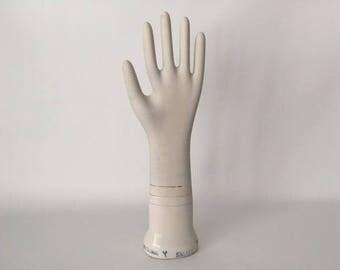 Vintage Glove Mold, Porcelain Ceramic Hand, 1980's