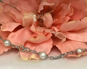 """Freshwater Pearl Bracelet  7.5"""" Infinity Link Featuring  3  8.5 - 9MM Pearls In Sterling Silver #3699"""