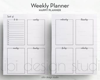 Weekly Planner, Happy Planner, Week on Two Pages, Undated Planner, Printable Planner, Daily Planner, MAMBI, MAMBI Planner, Planner Inserts