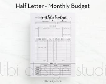 Monthly Budget, Half Letter, Budget Planner, Financial Planner, Monthly Tracker, Income Tracker, Expense Tracker, Printable Planner