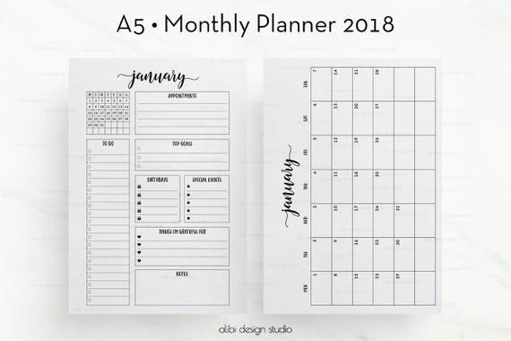 2018 Monthly Planner A5 Planner Inserts Month At A Glance