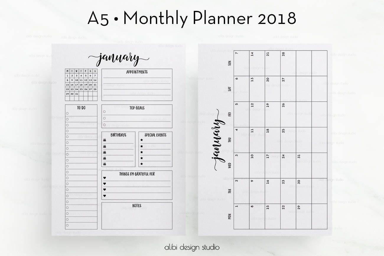 Hilaire image regarding a5 planner printable