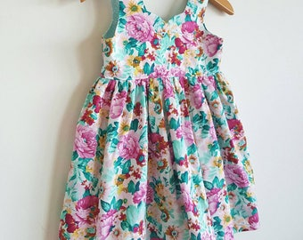 Dress // tea party // pink // mint // green // floral // girl gift // occassion
